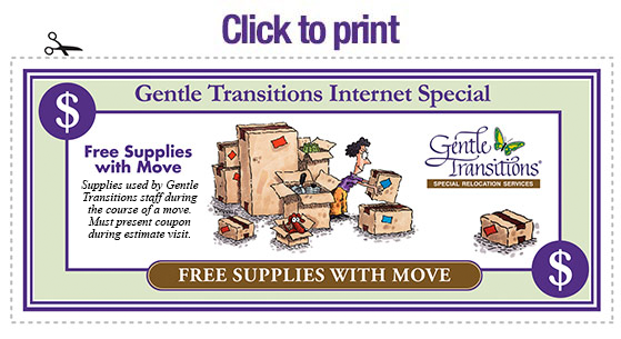 Discountc coupon on Senior Moving Supplies
